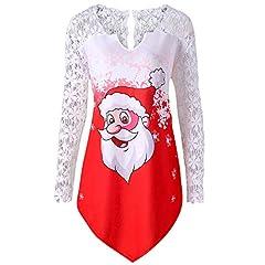 Idea Regalo - Yusealia Pullover Natalizio Camicetta Natale da Donna Stampa Babbo Natale di Natale Felpa con Cappuccio Lunga Maniche Elegante Maglione Natale Donna Vintage Magliette di Famiglia Sweatshirt Felpa