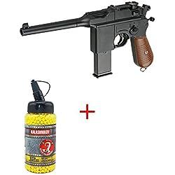 Galaxy Pack Cadeau Airsoft Pistolet Mauser C96/M712 Schnellfeuer WWII 0.5 Joule 6mm à Ressort - G12