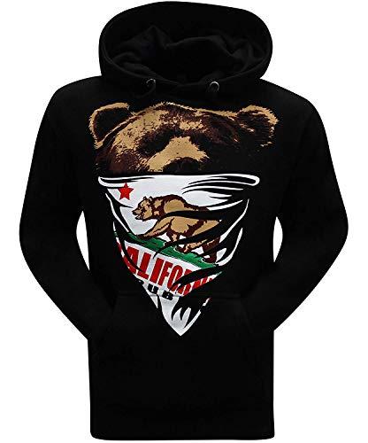 Cyourteem California Republic White Bandana Bear Men's Hoodie Hooded Sweatshirt Inside Out Long Sleeve Sweatshirt