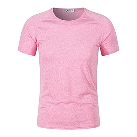 Mens Fashion Tops Short Sleeve Slim Fit Henley T-shirt Solid Color Sportswear (L, Pink)