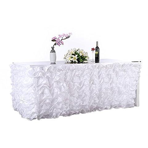 Lugii Cube faite à la main élégante en tulle Jupe de table pour fête, DE réunions, DE Mariage et décoration de la maison rose, blanc