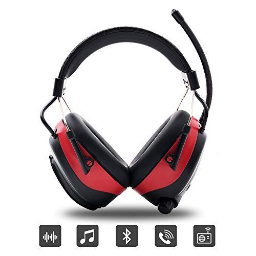 Protear Gehörschutz mit Bluetooth und Radio FM/AM, eingebaute wiederaufladbare Lithiumbatterie und Mikrofon, Gehörschutz für Werkstatt, Garten/Mähen, Traktoren, CE-zertifiziertes SNR 30dB (Garten Traktor)