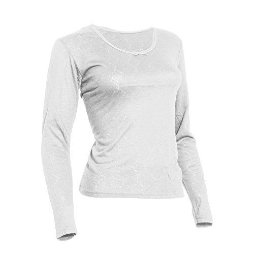 FLOSO® Damen Thermo Unterhemd, langärmlig (Brustumfang 106-112cm EU46/48) (Weiß)