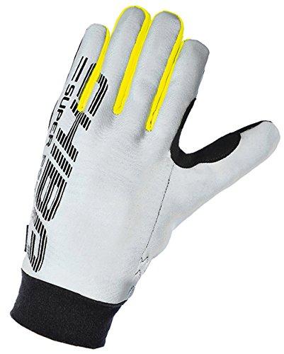 Chiba Pro Sicherheit Reflektierende Full Finger Radfahren Sport Handschuhe Silber Silver/Black/Yellow L (Reflektierende Handschuhe Radfahren)