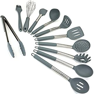 Lantana Premium 11pc Silicone Kitchen Utensil Set for Cooking and Baking in Sleek Grey and Brushed Stainless Steel. Includes; Tongs, Whisk, Spatula, Ladle, Potato Masher and more.