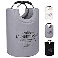 Allon Collapsible Laundry Basket, 100% Cotton Canvas Large Laundry Hamper, Durable Laundry Bag Storage with Comfort Handles (Grey)
