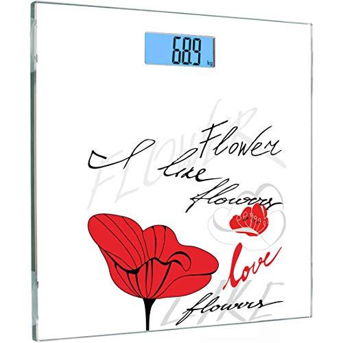 Ultraflache Präzisionssensoren Digitale Personenwaage aus gehärtetem Glas mit Mohnblumenmuster, stilisierte rote Blüte mit romantischer Inschrift Liebe zur Natur und zur Blume, scharlachrot schwarz bl