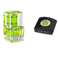 Fotosnow Camera Hot Shoe Level Bubble Spirit Level Hot Shoe Cover w/Standard Shoe Mount For Canon, Nikon, Olympus, Any DSLR & Film Camera -2 Axis and 1 Axis