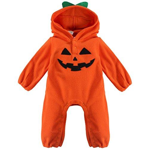 YiZYiF Baby Halloween Kostüm Winter Fleece Overall mit Kapuze Mädchen Jungen Strampler Jumpsuit Bodysuit Kleidung Kürbis + Orange 80-86 (Herstellergröße: 95)