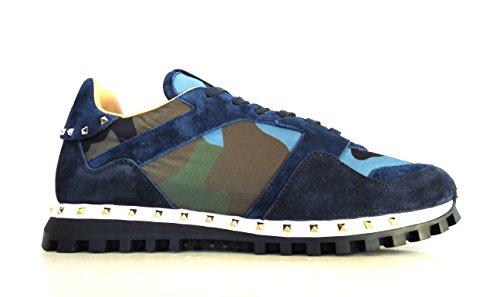 VALENTINO GARAVANI Herren Sneaker Blau Camouflage Blu, Blau - Camouflage Blu - Größe: 42 EU (Schuhe Valentino Blau)