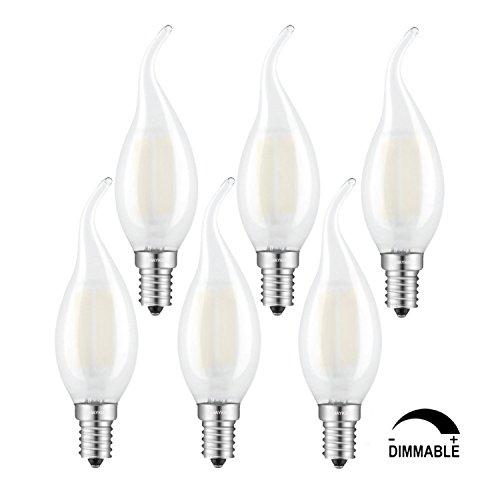 TAMAYKIM C35 6W Dimmerabile Filamento Lampadina LED Candela - 3000K Bianco Caldo 600 lumen - 6W equivalente a 60W - Attacco E14 - Fiamma Forma - Frosted Vetro - 360° Angolazione Fascio Luce - 6 Pezzi