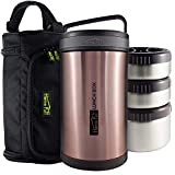 HomePuff Double Wall Vacuum Insulated - Stainless Steel Lunch Box with 3 Leak