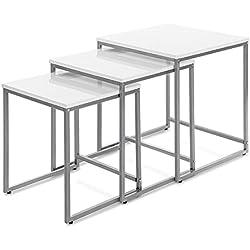IKAYAA YS1402007 - Mesas Auxiliares 3Pcs/Set para Lámparas Libros Ordenador Portátil Bebidas Uso en Salón Dormitorio Comedor Oficina (Max.40kg,Color Blanco Elegante)