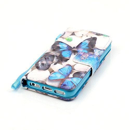 Coque iPhone SE,Coque iPhone 5S,Coque iPhone 5,ikasus® Coque iPhone 5S 5 / iPhone SE Bookstyle Étui Housse en Cuir Case,Modèle de Peinture colorée peint fleurs papillon printemps série Etui Housse Cui Papillon bleu