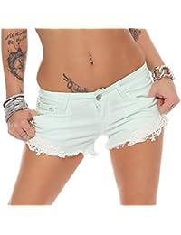 10144 Fashion4Young Damen Sexy Demin-Stoff Hotpants Short kurze Hose Hot  Pants Shorts Panty jeans e7e26b5a9a