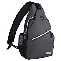 MOSISO Sling Backpack, Polyester Water Repellent Chest Shoulder Unbalance Gym Fanny Lightweight Crossbody Sack Satchel Outdoor Hiking Bag for Men Women Girls Boys Travel Daypack, Space Gray