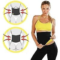 ducomi® Banda sauna Robot, Este presta efecto sauna de neopreno hipoalergénico, mujer, Black yellow, L