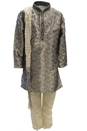 01 Grau und Elfenbein-Jungen Kurta Pyjama Indian Suit Bollywood Fancy Dress 7 years (Fancy Indian Dress)