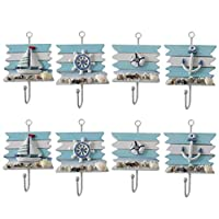 Vosarea 8pcs Nautical Wall Hooks Towel Hat Coat Hanger Decorative Wheel Sailboat Anchor Hooks for Home Decoration