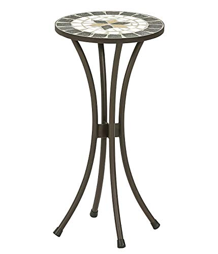 Dehner Blumenhocker Diana, Ø 30 cm, Höhe 60 cm, Metall, mosaikoptik, braun/grau/weiß