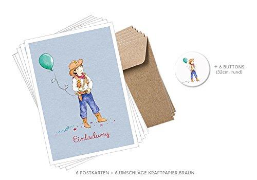 POSTKARTEN EINLADUNGS SET: 6 Postkarten/Einladungskarten mit 6 braune Umschläge (Kraftpapier) + 6 BUTTONS mit Cowboy in BLAU • Für Einladungen zum Kindergeburtstag, Glückwunschkarten u.v.m.