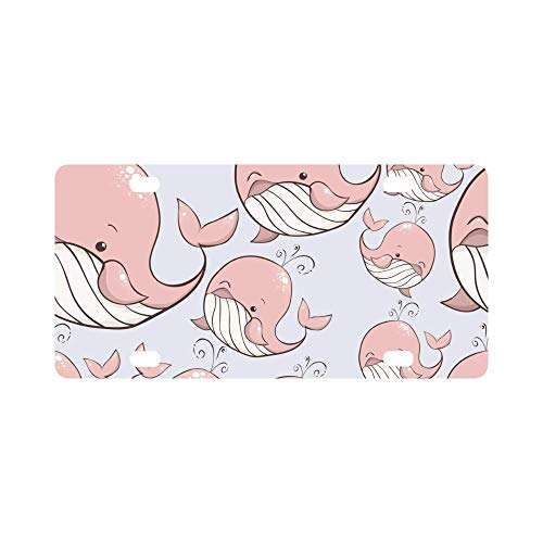 Ganheuze FloralFlames Pink Whale Pattern Custom License Plate Cover Novelty tinAuto Car Tag 4 (12 X 6 inches)