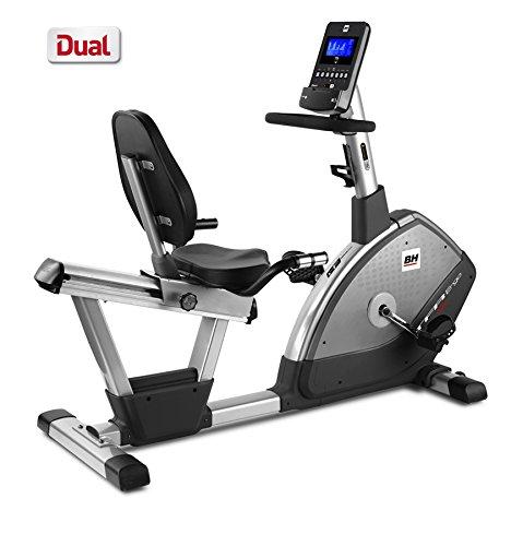 BH Fitness TFR ERGO DUAL H650 Liege-Ergometer - Liege-Fahrrad - Magnetisches Bremssystem - LCD-Bildschirm - Pulsmessung - Transporträder - 12 vorgegebene Profile - Trinkflaschenhalter