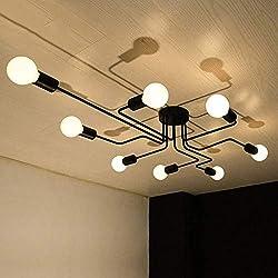 Vintage Plafonnier OYI Industriel Creative Plafond Lampe Pendentif Lampe Rétro Avec 8 E27 Lampe Socket Pour Salon Salle À Manger Bar Cafétéria Restaurant Etc