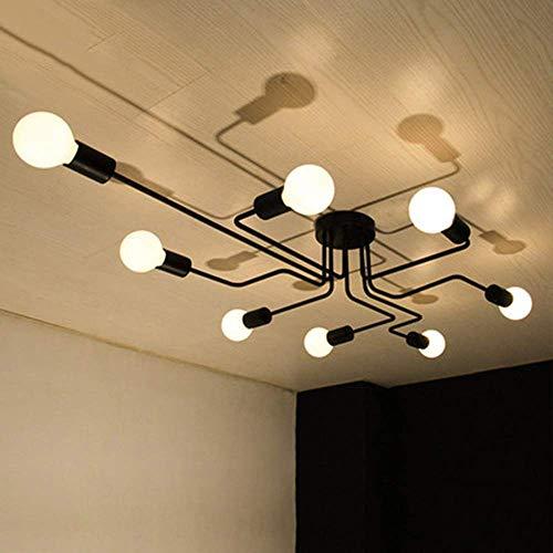 OYI Vintage Deckenleuchte 8-flammig Deckenlampe Kronleuchter Licht Industriellampe E27 Lampenfassung für Wohnzimmer Schlafzimmer Esszimmer Flur Bar Café Restaurant