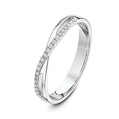 Theia 9ct White Gold with a Cross set with 0.1ct Diamond 3 mm Half Eternity Ring - Size Q
