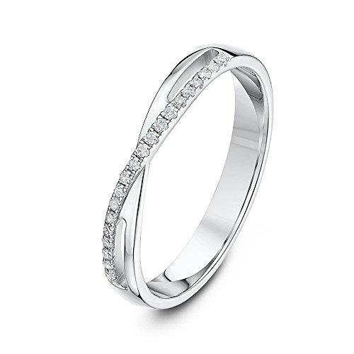 Theia Damen -  9 k (375)  Weißgold Rundschliff   transparent Diamant (Messing Tommy Hilfiger)