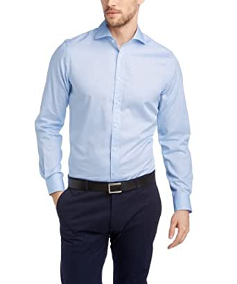 ESPRIT Collection Herren Slim Fit Businesshemd 024EO2F006 Baumwollhemd mit leichter Struktur, Gr. X-Small (Herstellergröße: 3536), Blau (BUSINESS BLUE)