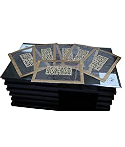 Kuber Industries™ Dining Table Place Mats Set of 6 Pcs in laminated Patch Design (Golden)