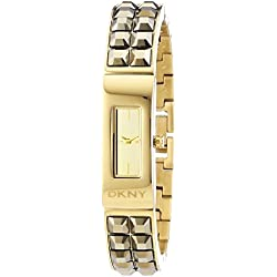 DKNY Women's Quartz Watch with Black Dial Analogue Display and Gold Stainless Steel Plated NY2228