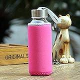 Vige 300ml Glastrinkflasche Borosilikatglas Wasserflasche mit Stoffbeutel Tragbare Reisetrinkflasche - Rose Red