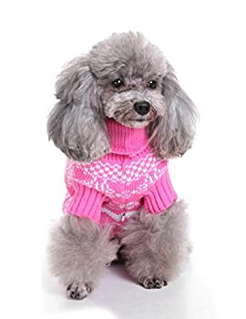 Weant Christmas Fashion Comfortable Pet Clothes Festival Dress Sweater Knitwear (M, Pink) 0