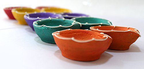 TIED RIBBONS Diwali Diya Colorful Handmade Earthen Clay Diyas Set for Diwali Lighting Decoration (Set of 10, Multicolor)