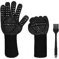 PHILORN 1472 °F Guante para Asar Resistente al Calor con Silicona Cepillo para Barbacoa Cinco Dedos Guantes para Hornos de Tejar Cocina Mitones de Cocina para Exteriores 1 par (Negro)