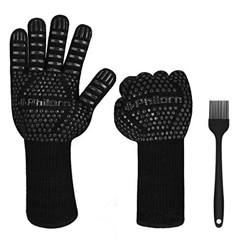 PHILORN 800 °C Grillhandschuhe Ofenhandschuhe Grill Lederhandschuhe Hitzebeständige bis zu Universalgröße Kochhandschuhe Backhandschuhe für BBQ Kochen Backen und Schweißen-Klassisch (Schwarz)