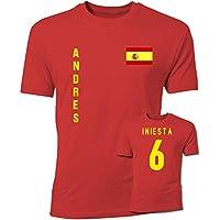 UKSoccershop Andres Iniesta Spain Flag T-Shirt (Red)