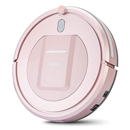 Saugroboter Automatische Staubsauger mit starker Saugleistung Robot Vacuum 3 Reinigungs Modi 200 mL Staubbox für Parkettbodenfliesen dünnen Teppich und Tierhaare (Pink)