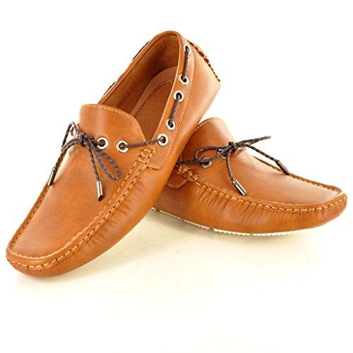 New Herren Leder Look Casual Loafer Mokassins Slip auf Schuhe mit Spitzen-Detail Braun