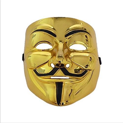 Baipin Máscara Vendetta Oro, Careta de V para Vendetta Máscara de Halloween Careta Cosplay Disfraz Máscara de Fiesta de Halloween