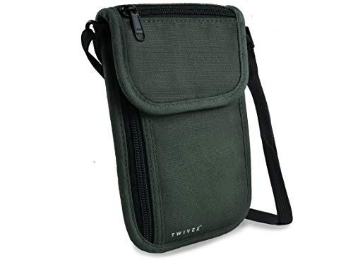 TWIVEE - Brustbeutel mit RFID-Schutz - Brusttasche Unisex - Reise Umhängebeutel - Reisegeldbeutel - Grün