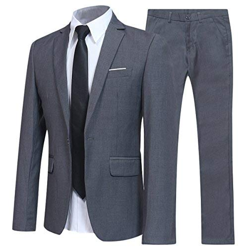 Allthemen Herren 2-Teilig Slim FIT Business Anzug Grau XXX-Large -