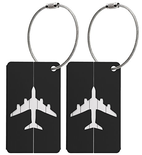 Kofferanhänger aus Metall mit Namensschild und Flug-Motiv 2 Stück - Schwarz metallic