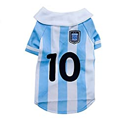 Dog clothes, 2014 Soccer World Cup Pet Football T-shirt Dog Sweater For Agentina Sport Jersey Dog Costumes from ZX