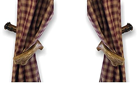 Mountain Mike's Reproductions Co. Curtain Back Holder, Plastic, Antler, Set