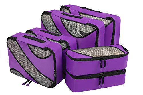 Amazon Marke: Eono Essentials Set mit 6 Packwürfeln, 3 unterschiedliche Größen zur Organisation Ihres Reisegepäcks Lila -