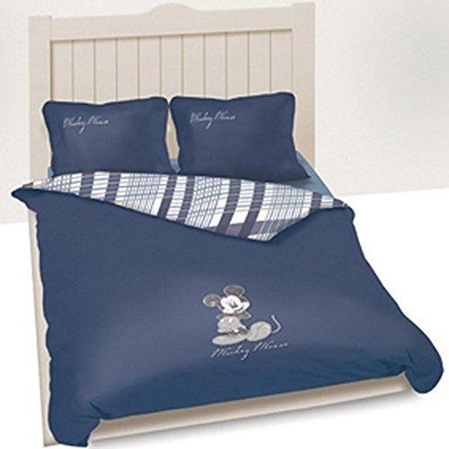 Disney - Juego de sábanas de algodón, 240 x 220 cm, diseño de Mickey Mouse, color azul